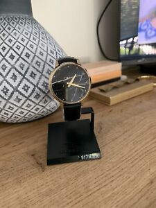 Rip Curl Lola Slim Stone Gold Leather Watch, Black Leather Band