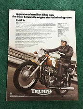 ORIGINAL 1972 TRIUMPH MOTORCYCLE DEALER LEAFLET BONNEVILLE 650 T120RV BROCHURE