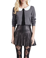 Genuine Lambskin Leather Pleated Skirt Pleats A Line Pleated Mini Women Lined
