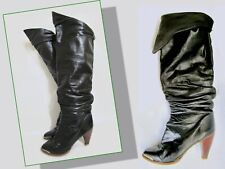 Vintage 70s Zodiac Black Leather Boots Tall Pirate 6.5 7 M