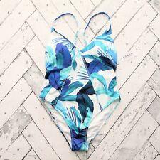 New PacSun La Hearts One Piece Swimsuit Sz S Blue Tropical Print V-Neck