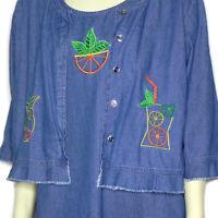 CB Casuals Womens L Sleeveless Denim Dress and Jacket Set Fun Casual Summer
