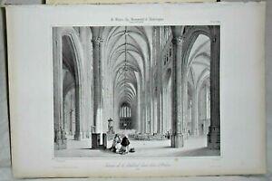 Lithographie Intérieur de la Cathédrale Sainte Croix d' Orléans