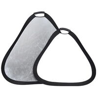 "32"" Silver/White 2 IN 1 Portable Handheld Triangle Collapsible Reflector 80cm"