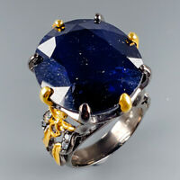 One of a kind Natural Blue Sapphire 925 Sterling Silver Ring Size 8.5/R114783