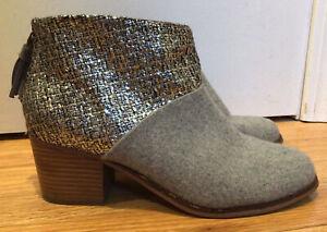 TOMS Leila Grey Felt Shine Boucle Back Zip Ankle Boots Women's Size 9
