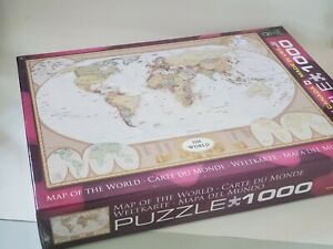 1000 Piece Jigsaw Puzzle Map of The World Eurographics - NEW
