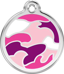 Stainless Steel Red Dingo Camouflage Dog ID Collar Charm Tag Pink Green Blue