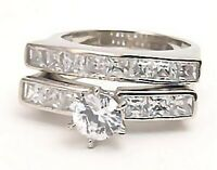 Sterling Silver Wedding Ring set 3 ct Anti Tarnish Size 8