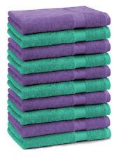 Lot de 10 serviettes débarbouillettes Premium couleur: vert émeraude & lila