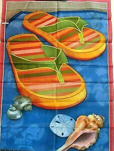 "House Flag 28""x 40"" Flip Flops and Sea Shells - Colorful - Quality Dye Sub"