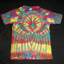Organic Tie Dye T-Shirt Wild Rainbow Sunburst Small Tye Dyed Hippie Fair Trade