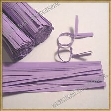 "100pcs 4"" Paper Purple Twist Ties for Bakery Cello Bags"
