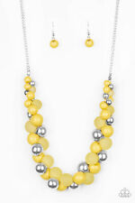 PAPARAZZI BUBBLY BRILLIANCE - YELLOW BEADS - SILVER OPAQUE BEADS -NECKLACE AND E