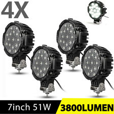 4X 51W 7inch Round Led Lights Offroad ATV UTE Truck Spot Backup Fog Pods Driving