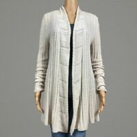 Lucky Brand Cream Loose Open Knit Cardigan Sweater LARGE Wool Alpaca Blend