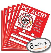Vinyl Decal Adhesive Sticker  Warning Pet Alert Inside in Case of Fire Safety...