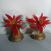 Vintage Gold Hard Plastic Bells Poinsettias Greenery Christmas Ornaments