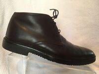 Ermenegildo Zegna Brown Leather Chukka Ankle Boots Mens 7.5 Italy Casual Dress