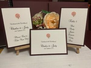 Wedding Seating Plan Cards - Autumn Tree Collection - Dark Burgundy
