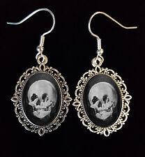 Skull Optical Illusion Lady Mirror Antique Silver Drop Earrings Goth Unusual