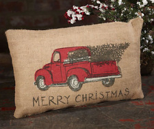 Burlap Red Truck Throw Pillow Case Cushion Cover 8 X 12 Inches