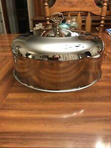 Vintage Stainless Steel Cake Plate Cover Metal Ornate Handle