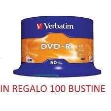 100 DVD -R VERBATIM vergini 16X MATT SILVER Advanced Azo dvdr + 100 bustine
