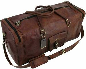 Bag antique Leather Travel Duffle Weekend Gym Holdall Luggage Vintage Real New