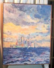 Framed Oil Painting of New York City Skyline by Milly O.