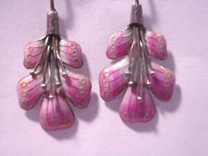 Vintage 70's PINK Enamel TROPICAL FLORAL Dangle Earrings Pierced Wire NICE!