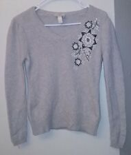 Ann Taylor Loft Gray Soft Wool Angora Cashmere Beaded Floral Sweater Euc Sz S