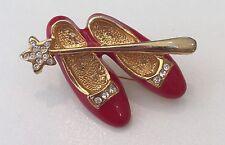 Wizard of Oz Dorothy Ruby Slippers Shoe Rhinestone Pin Red Enamel / Gold tone