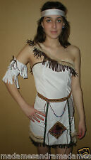 Nativo Rosso Indiano Costume Pocahontas Donna Squaw VESTITO COSTUME HALLOWEEN