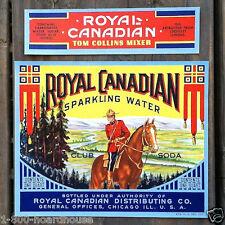 8 Vintage Original Different ROYAL CANADIAN SODA BOTTLE Labels NOS Unused 1940s