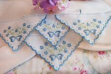12~Embroidered Blue Lace Triangle APPLIQUES  Baby Dolls Hankies