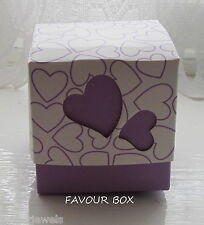 {10} MAUVE HEART DESIGN WEDDING/BABY FAVOUR BOXES