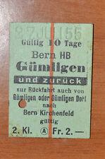 BIGLIETTO TRENO - FERROVIE - TRAIN TICKET - 1955 - BERN / GUMLIGEN (B2)