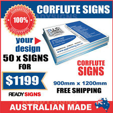 Custom Corflute Signs Bulk 50 X 900mm x 1200mm x 5mm  - Australian Made