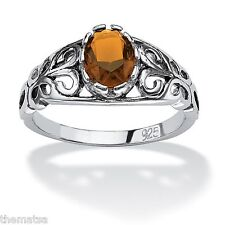 WOMENS STERLING SILVER CITRINE NOVEMBER BIRTHSTONE SCROLL RING SIZE 5 6 7 8 9 10