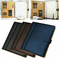 A4 Ring Binder File Folders With Calculator Conference Document Bag PU Notebook