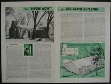 LOG CABIN Building House Construction 1946 How-To INFO