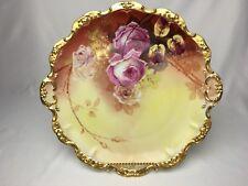 "B&H Limoges 12&1/2"" Platter Double Handled Roses Ornate Gold Artist Signed"