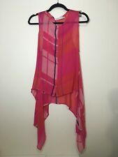 =FUN SEE By CHLOE Orange Pink Tartan Check Print Silk Trail Singlet Tank Top US4