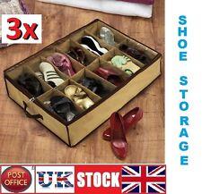 COPPIA di 3x12 Sotto Letto Scarpa Organizer Storage titolare scatola da scarpe Tidy Bag Tasche Rack