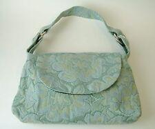 Green Blue KM White Tapestry Purse Handbag Tote Black Velvet Lined Floral Fabric