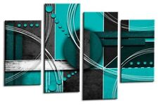 Large Abstract Circles Art Picture Teal Black Grey Wall Canvas Split Panel