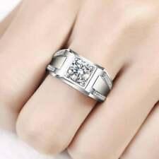 1.05CT Men's Unique CZ 925 Sterling Silver Anniversary Wedding Ring For Men's
