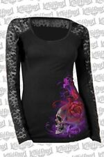 Lethal Angel Purple Haze Lace Skull Floral Roses Goth Long Sleeve Shirt LA20449