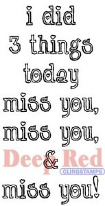 Deep Red Stamps Miss You Rubber Cling Stamps